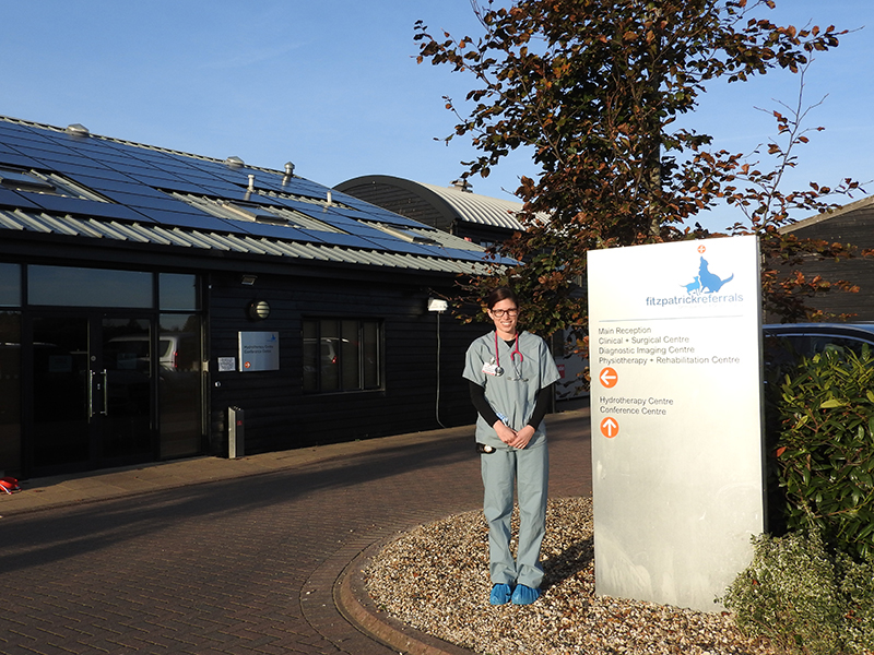 Visiting Veterinary Student Lauren from the University of Sydney outside Fitzpatrick Referrals Orthopaedics & Neurology