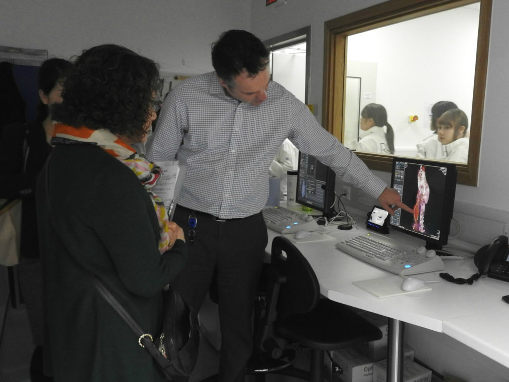 Professor Nick Bacon demonstrating a CT scan to the students