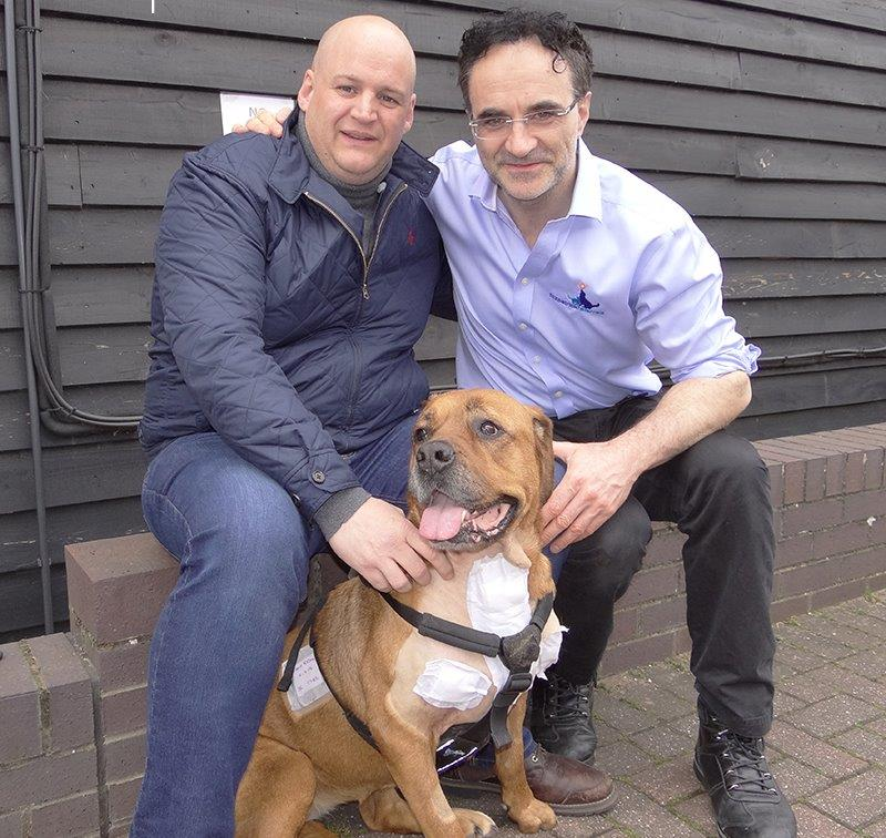 Lulu with Professor Noel Fitzpatrick and Charlie