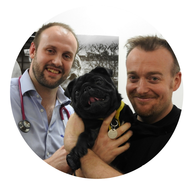 Dr Colin Driver and Mike with patient Stewie
