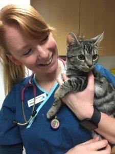 Senior Veterinary Nurse, Sarah King, with Cutie Pie the cat