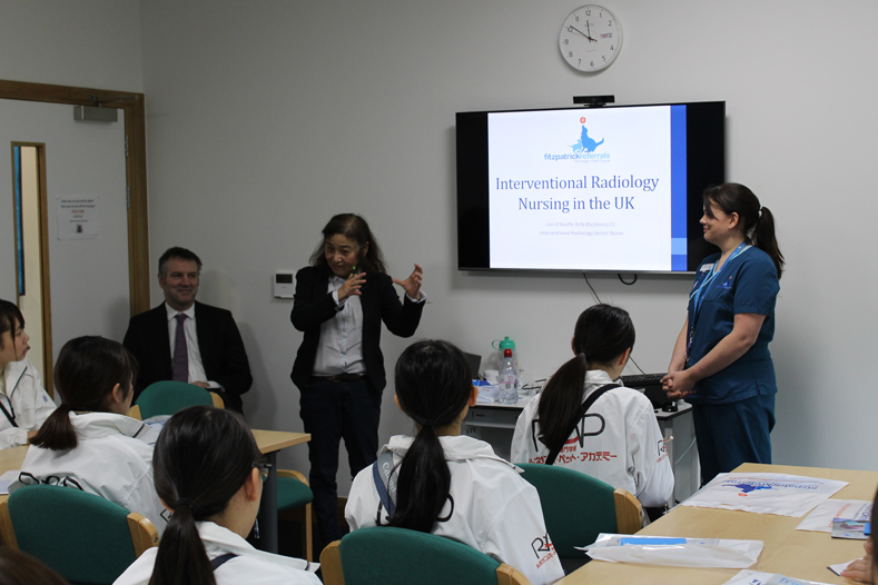 Japanese students with Interventional Radiology Senior Nurse Jen O'Keefe at Fitzpatrick Referrals Oncology & Soft Tissue hospital