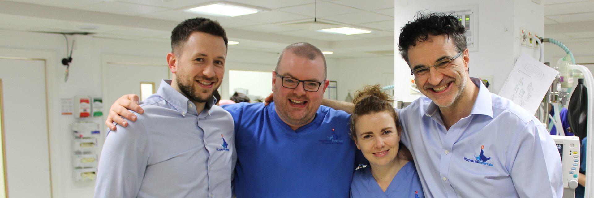 Orthopaedic surgeons James, Padraig and Susan with Professor Noel Fitzpatrick
