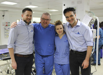 Orthopaedic surgeons James, Padraig and Susan with Professor Noel Fitzpatrick