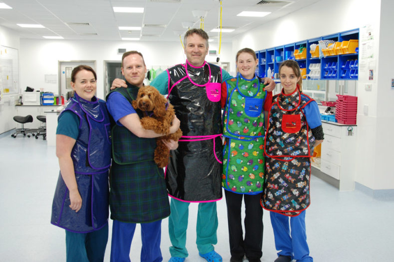 Fitzpatrick Referrals Interventional Radiology team wearing new lead gowns donated by The Rumba Foundation