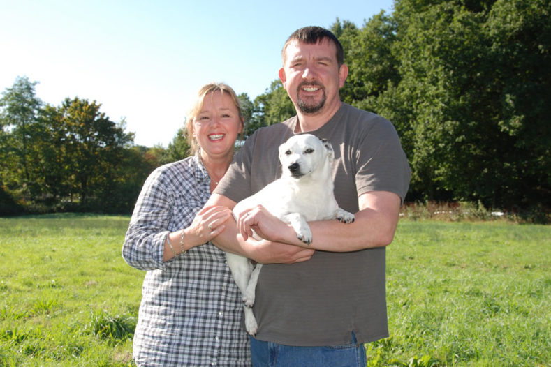 Jack Russell Terrier prostate cancer patient with family at Fitzpatrick Referrals oncology hospital