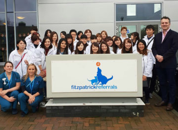 Professor Nick Bacon and veterinary nursing students from Japan outside Fitzpatrick Referrals Oncology & Soft Tissue