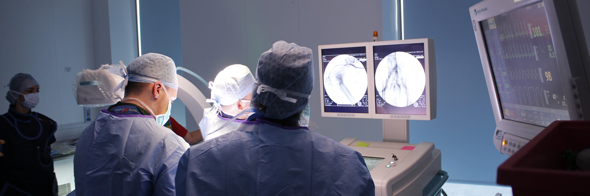 Gerard McLauchlan in surgery performing a canine prostate embolisation