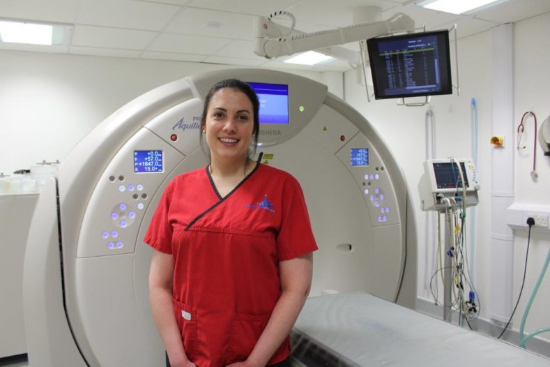 Radiographer Felicity Stringer in CT room at Fitzpatrick Referrals