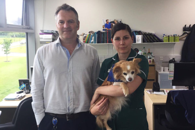 Senior Nurse Clinician pictured with oncology patient and surgeon Professor Nick Bacon