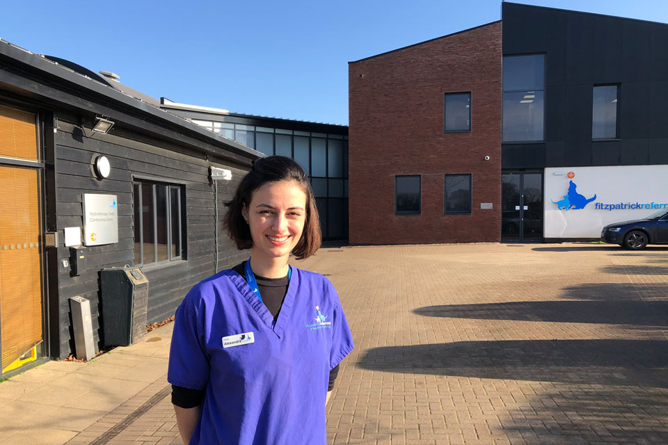 Veterinary Intern Alexandra outside Fitzpatrick Referrals Orthopaedics and Neurology practice