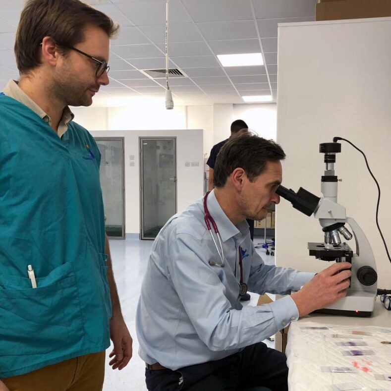 Medical Oncologist using microscope