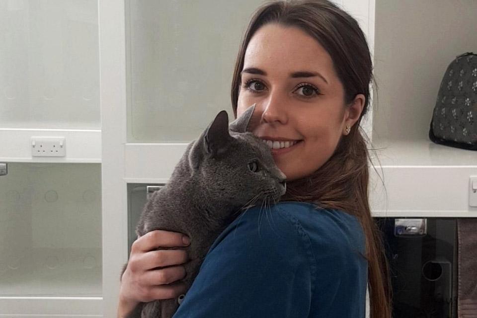 RVN Megan with feline patient